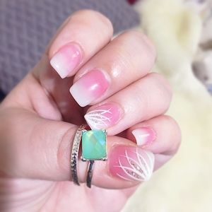 Lovely, Silver & Teal Double Stacker Ring Set 8